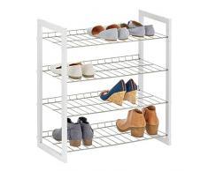 mDesign Scarpiera salvaspazio con 4 ripiani – Porta scarpe in metallo e legno – Pratico scaffale per scarpe per corridoio, armadio o camera da letto – bianco e argento opaco