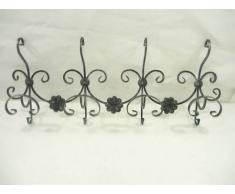 Attaccapanni Appendiabiti da parete in ferro battuto rustico 4 posti