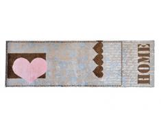 """Lifestyle-Mat Tappeto antiscivolo e lavabile, ideale per ingresso, cucina o armadio, motivo a cuori con scritta """"Home"""", marrone/rosa, Microfibra, marrone, 50x150cm"""