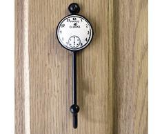 Gancio appendiabiti di metallo nero da parete con orologio paris clock - per ombrelli cappelli - vite inclusa