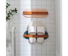 FemKey Scarpiera da parete, 2 pezzi, con mensola per scarpe, autoadesiva, non perforata, per scarpe da bagno, rosa e aul