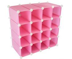 Scarpiera in plastica per 16 paia di scarpe, mensole con telaio in acciaio rinforzato, espositore con elementi rigidi a cubo Pink