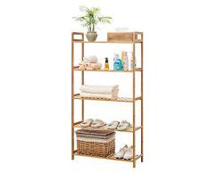 wolketon - Scaffale da bagno a 5 ripiani, in legno di bambù, 127 x 52 x 26 cm, scaffale da cucina per piante, scarpiera per bagno, cucina, soggiorno, corridoio, sauna, balcone