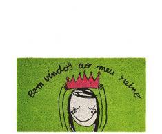 laroom Zerbino Motivo Bem vindos Ao MEU Reino, Jute And Base Antiscivolo, Verde, 40Â x 70Â x 1.8Â cm