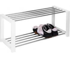 HomeTrends4You 838326 Panca con vano scarpiera, 80 x 32 x 30 cm, bianca cromata