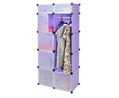 Armadio/Armadietto a muro per corridoio camera da letto a 7 scomparti senza viti, colore: viola/lillˆ