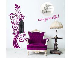 00637 Adesivi murali ''Appendiabiti Ramo con riccioli'' - Stickers adesivi - 59x160 cm - Viola - Decorazione parete, adesivi per muro, carta da parati