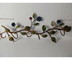 Attacappanni Appendiabiti in ferro battuto con ROSE BLU da parete 3 posti