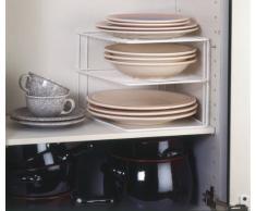 Metaltex 364202095 Silos - Ripiano angolare a 2 piani per armadietto da cucina, 25 x 25 x 19 cm, colore: Bianco