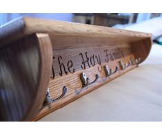 Con incisione messaggio! realizzato a mano, in solido legno di quercia-Appendiabiti con mensola, Cromo, 120cm - 8 hooks