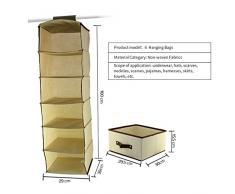 6-Shelf appeso armadio organizzatore armadio bagagli Unità Maglione Organizzatore con 2 cassetti per riporre i vestiti, asciugamani, lenzuola, scarpe (beige)
