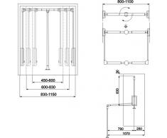 GTV Lift estraibile armadio appendiabiti Hanger morbida regolabile Return, pantografo con olio Lift 450 mm-600 mm