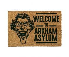 GIUCAR Batman - Zerbino, Motivo: Joker, con Scritta: Welcome to Arkham Asylum, Poliuretano, Colore: Marrone