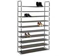 TecTake Scaffale scarpiera a ripiani portascarpe porta scarpe armadio mobile 10 ripiani 100x176x29,5 cm
