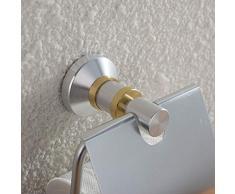 AHIMITSU Rotolo di Carta Portarotolo in Alluminio Portarotolo in Alluminio Portacappelli da Bagno in Oro Spazzolato Porta Carta