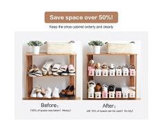 Rack di scarpe per risparmio spazio, BAFFECT® Regolabile scaffale di archiviazione dell'armadio del pattino spazio di immagazzinaggio del pattino di spazio doppio strati 2 parti / lotto (Beige)