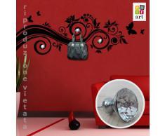 """Adesivo murale Appendiabiti Wall Art """"Ricciolo farfalle con gioielli"""" - Misure 140x48 cm - Decorazione parete, adesivi per muro, carta da parati"""