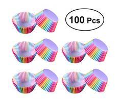 BESTONZON Fazzoletti di carta per cupcake Portacappelli per torta Custodie per muffin Decor per party (Arcobaleno a colori) 100 pezzi