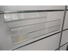 Fimel -Mensola portascarpe in plexiglass trasparente con porta etichette misura L.250 X P.100 MM