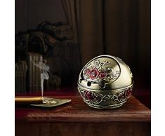 CDD ashtray Portacappelli in lega di zinco famiglia in stile europeo posacenere moda creativa 10 * 8.8 cm (Colore : Bronze safflower)