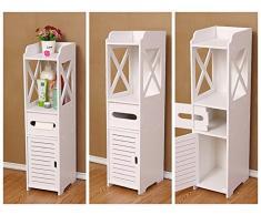 3 in 1 accessori bagno Storage 6.1 x 15,5 x 78 cm Bigtree da pavimento impermeabile bagno in MDF bianco robusta bagno mobili per salotto, camera da letto, cucina, corridoio, bagno WC Silm Shlef bagno armadio