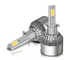 Lampadine a LED, Mesllin C6 H3 Kit di conversione per lampade a sospensione per Halogen per auto HID Xenon 120W 20000LM 6000K Lampade bianche, 60W / lampadina, chip COB, 3 anni Garanzia (H3)