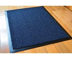 Media e Grande Blu/Nero - Zerbino con retro in gomma Hall Runner barriera Tappeti Tappeto in PVC con Heavy Duty tappetino antiscivolo da cucina (90 x 150 cm) Blue/Black (80 x 140cm)