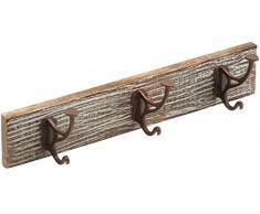 Maestro Vintage della barra con ganci, 455 X 90 mm ✓ legno di mango ✓ 3 Cappello Ganci ✓ stile vintage ✓ Decapato | appendiabiti, appendiabiti, appendiabiti da parete | parete | Gancio Appendiabiti Gancio Del Tovagliolo