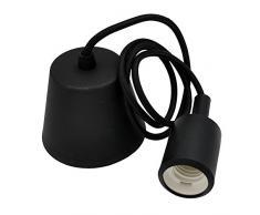 Lampade a Sospensione Lampadari a Soffitto Silicone Nero Moderni con Portalampada E27 Lunghezza Totale 155CM di Enuotek