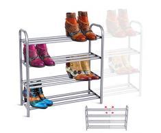 GEMITTO Scarpiera Scaffale 4 Strati Allungabile Shoe Organizer Rack Heavy Duty Scarpe Supporto Griglia con Rivestimento Verniciato Scarpiere Moderne Salvaspazio (60-106) x8.9 x24.2cm (Argento Grigio)