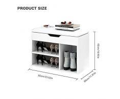 Meyhouse Home scarpiera con PU sella rack, cassapanca in legno panca portaoggetti, più comodo da indossare scarpe.Alzata & 1 White