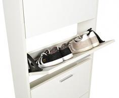 ts-ideen 11301 Scarpiera Salvaspazio 169 x 59 cm in Bianco stile moderno con 5 scomparti ad anta basculante extra stretta