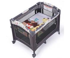 DELLT@ Fasciatoio per neonato, culla portatile grigia, lettino per bambini pieghevole, agitatore rimovibile, zanzariera + tavolo per pannolini + rack + portacappelli