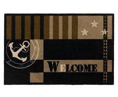 """Zerbino Metropolitan con scritta """"Welcome"""", con ancora e stelle, marittimo, 50x70 cm, bruno"""