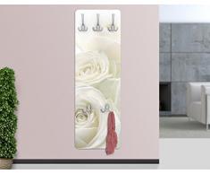 Appendiabiti - White Roses 139x46x2cm, appendiabiti a muro, appendiabiti da muro, appendiabiti da parete, appendiabiti design, Dimensione: 139cm x 46cm