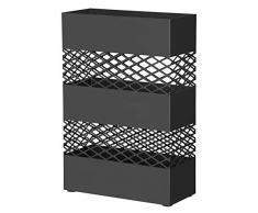 Portaombrelli Quadrato Bianco con Gancetti e Vaschetta Scolapioggia Rimovibile CT Porta Ombrelli in Metallo