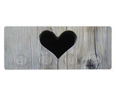 Wenko 4369945100 - Appendiabiti adesivo a 4 ganci, motivo a cuore