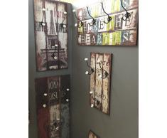 HAKU Möbel 42001 - Appendiabiti da parete, 75 x 28 x 30 cm, colore: acciaio/rovere chiaro, multicolore, 60 x 12 x 30 cm
