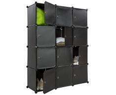 TecTake Scaffale armadietto modulare mobile scaffalatura mensola per scarpe bagno sistema di plug-in cuba nero