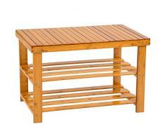 TecTake Scaffale scarpiera a ripiani sgabello scarpe banca panchina di legno bambù 70x28x45,5cm