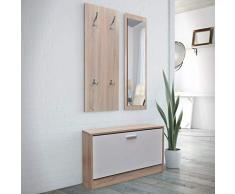 GOTOTOP 3 in 1 Set di scarpiera, scarpiera in legno con porta, specchio con cornice in legno, appendiabiti da parete