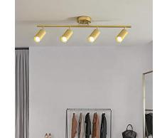 Plafoniera Led Rotondo A 4 Teste Faretto Rotante In Ferro Battuto Orientabile Lampada A Binario Guardaroba Lampada Da Esposizione Per Negozio Di Abbigliamento, Oro