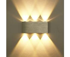 Unimall 6W Illuminazione a Parete Luce Sopra Sotto LED Lampada da Parete in Alluminio Applique da Parete Interni per Casa Armadio Corridoio Soggiorno Hotel Bianco Caldo