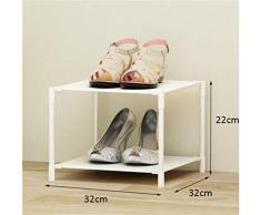 Rack di scarpe per mobili da corridoio Rack Simple Shoe 2 Tiers Portapacchi multifunzionali a mensola in plastica (32 * 32 * 22cm) Armadio per mobili-WXP