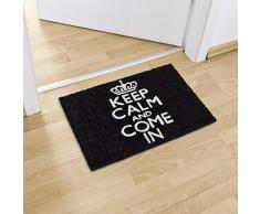Relaxdays Keep Calm Zerbino per Ingresso, Nero, 60 x 40 cm