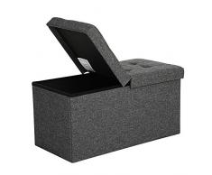 SONGMICS - Cassapanca pieghevole per scarpe, capacità di carico: 300 kg, 76 x 38 x 38 cm 76 x 38 x 38 cm Dark Grey