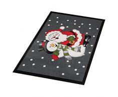 Hanse Design Home 103048Â Zerbino Zerbino Santa And Snowman Babbo Natale Pupazzo di Neve, Poliammide, Grigio, Rosso, 40Â x 60Â x 0.7Â cm