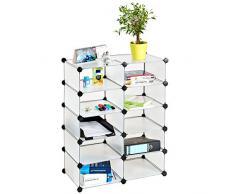 TecTake Scaffale modulare mobile guardaroba scaffalatura mensola per scarpe bagno sistema di plug-in cuba bianco
