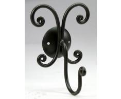 Appendino appendiabiti attaccapanni un gancio in ferro battuto decoro nero; serie completa da bagno