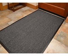 Kangroos Zerbino in gomma antiscivolo, tappetino per ingresso casa, cucina, ufficio, zerbino in tutti i colori e misure 40 x 60 / 60 x 90 / 60 x 180 / 90 x 150 / 120 x 180, Grey, 60 x 90 cm